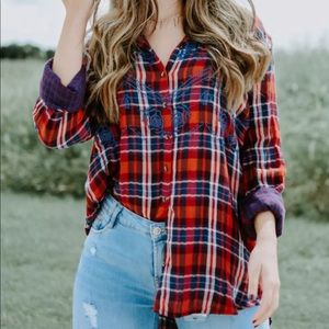 NWT FREE PEOPLE MAGICAL PLAID SHIRT TOP LARGE